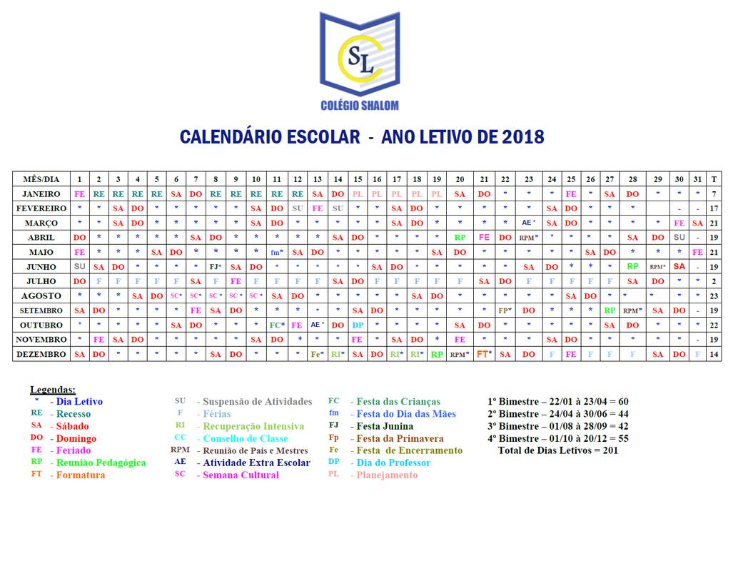 Calendrio escolar colgio shalom clique aqui e faa o download do calendrio escolar 2018 ccuart Choice Image